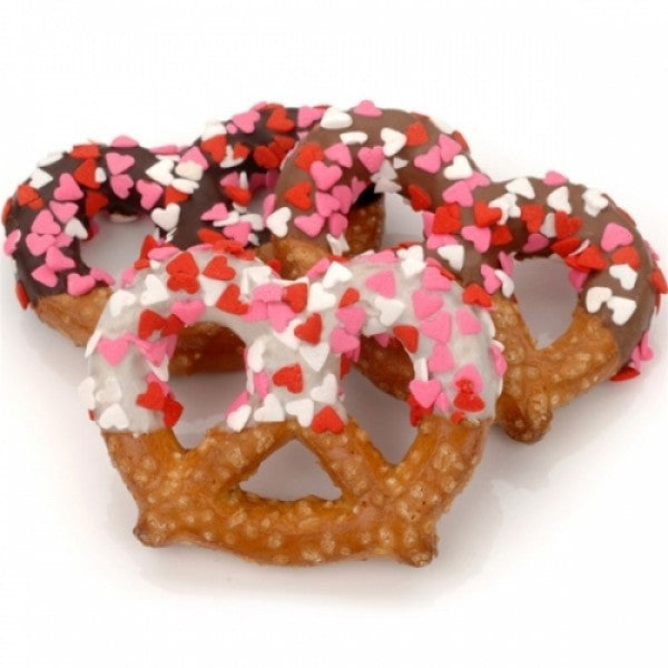 Heart Sprinkles Chocolate Pretzel Twists - Chocolate.org