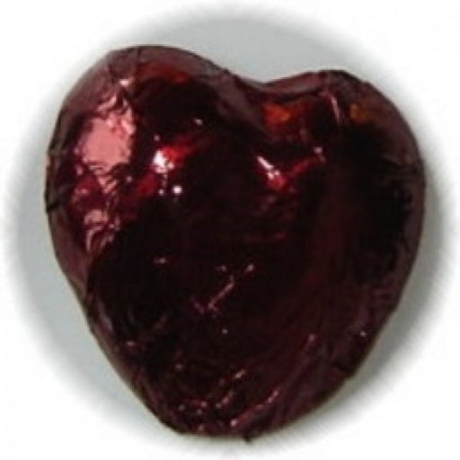 Burgundy Foiled Chocolate Hearts 1 Lb