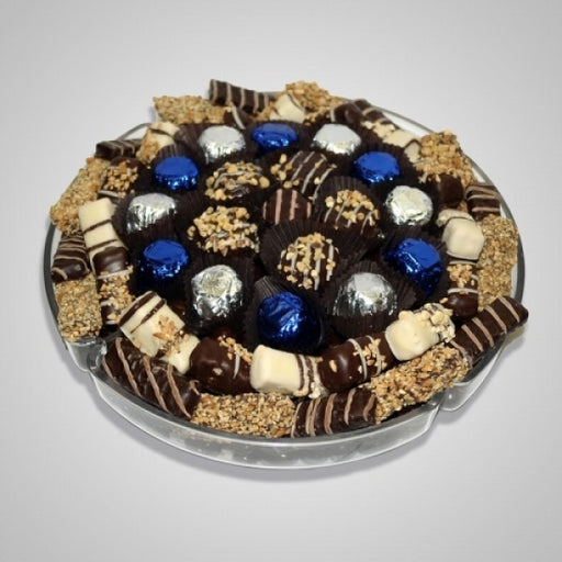 Round Plastic Tray Filled With Chocolates