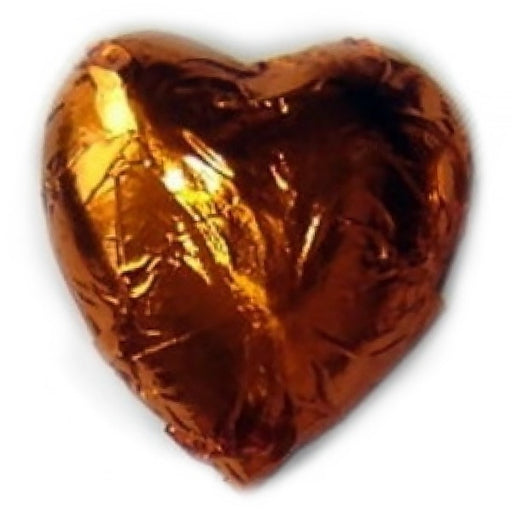 Orange Foiled Milk Chocolate Hearts 1 Lb