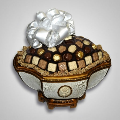 Antique Elegant Polyresin Fruit Bowl Filled With Chocolates - Chocolate.org
