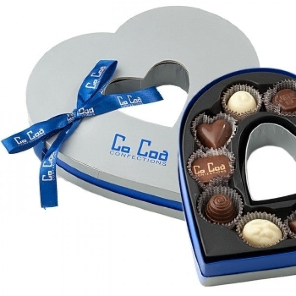 Silver Chocolate Heart Gift Box