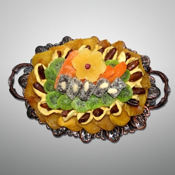 Tub Shvat Metallic Oval Fruit Bowl Filled With Dry Fruits - Chocolate.org