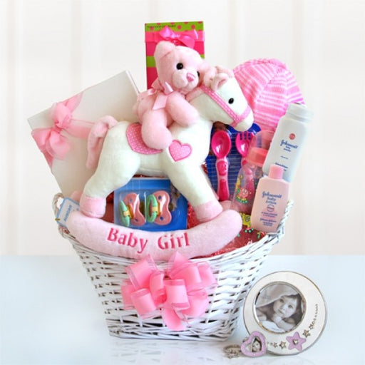 Rocking Baby Girl Gift Basket