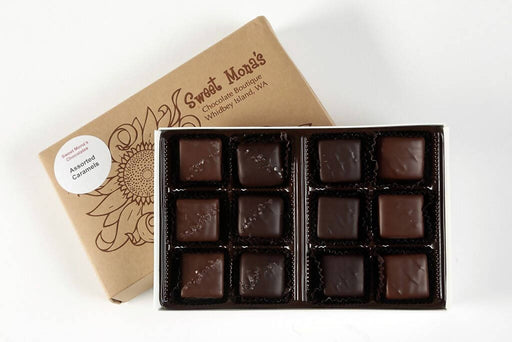 Sweet Mona's Assorted Chocolate Caramels | Small Batch, Kettle Cooked | 12-Piece Gift Box - Chocolate.org