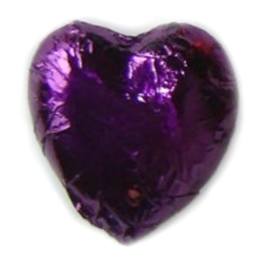 Purple Foiled Milk Chocolate Hearts 1 Lb - Chocolate.org