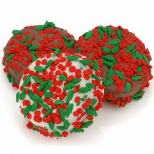Holly Berry Sprinkles Chocolate Dipped And Decorated Oreos