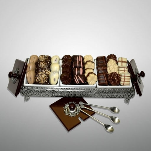 Three Sectional Elegant Pewter Chocolate Basket - Chocolate.org