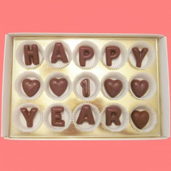 Happy 1 Year Large Milk Chocolate Letters Gift