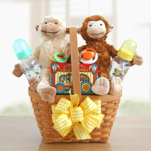Monkey Business Twin Baby Basket - Chocolate.org