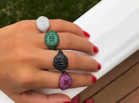 Sterling silver colorful pinky style rings