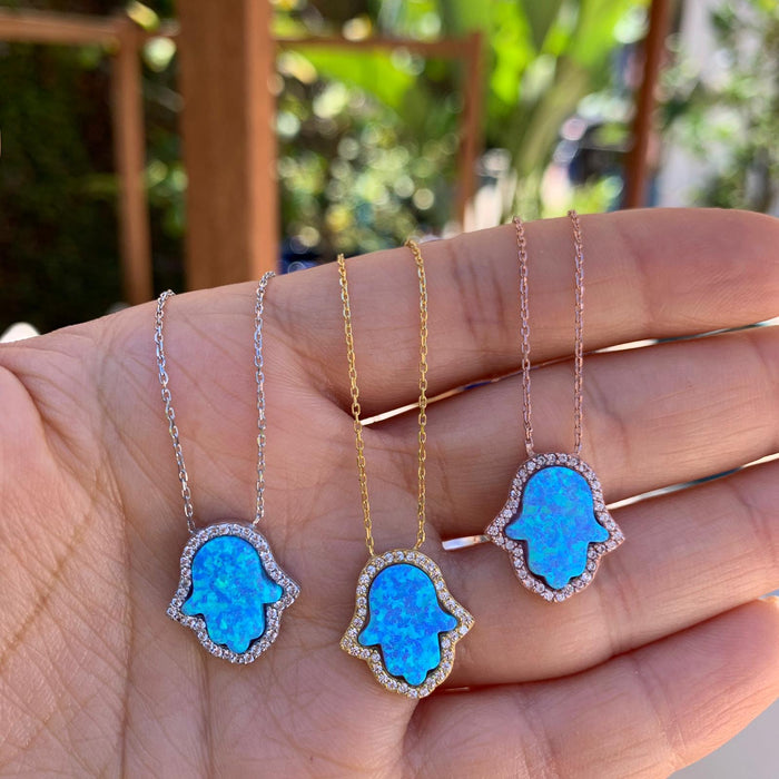 Sterling silver blue opal hamsa necklace