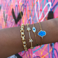 Sterling silver gold plated hamsa, eye, star & link bracelets