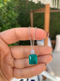 Sterling silver paraiba stone necklace