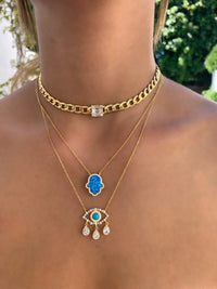 Sterling silver gold plated link, opal hamsa and eye necklace