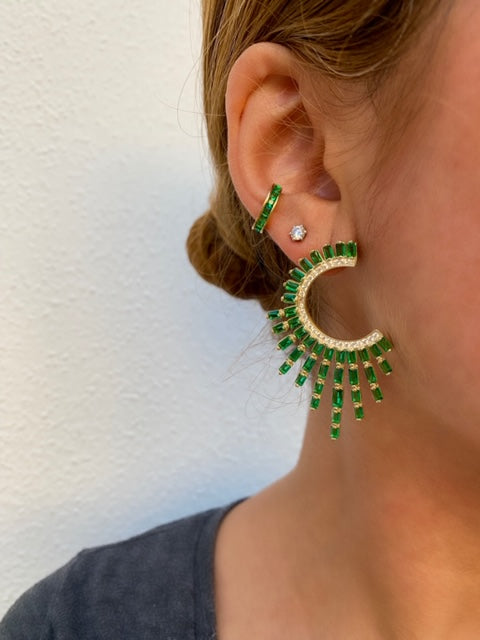 "Sterling silver ""Sun"" statement earrings in Green/silver"