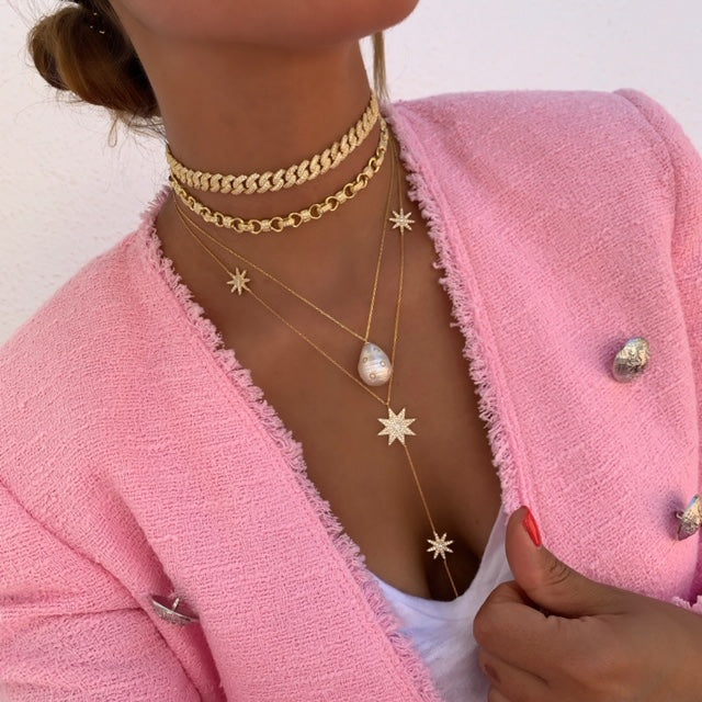 Sterling silver gold plated link chokers, pearl and star necklace