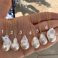 Natural baroque pearl sterling silver necklaces