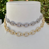Sterling silver Gucci style pave link choker