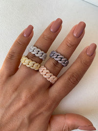 Sterling silver chain link rings