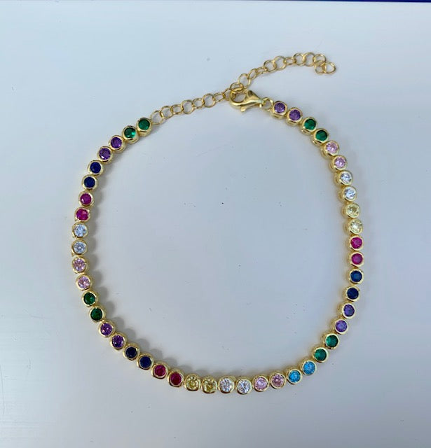 Sterling silver gold plated rainbow bracelet