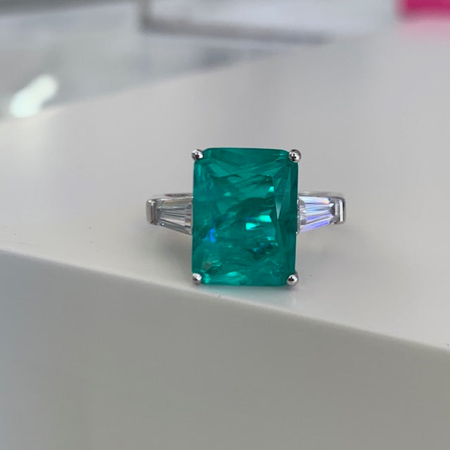 Sterling silver Paraiba ring with baguette side stones