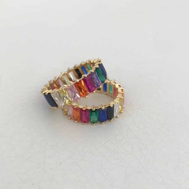 Sterling silver gold plated rainbow eternity bands
