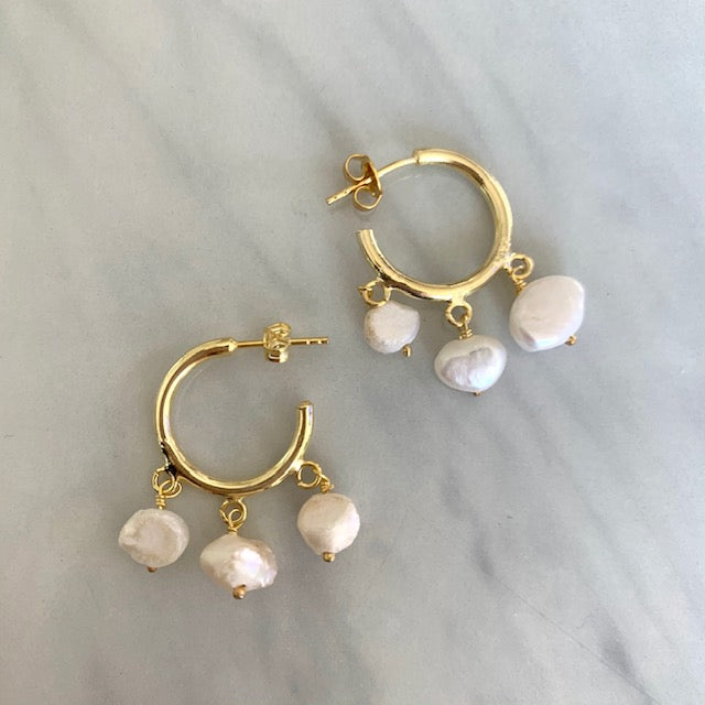 Sterling silver gold plated pearl hoops