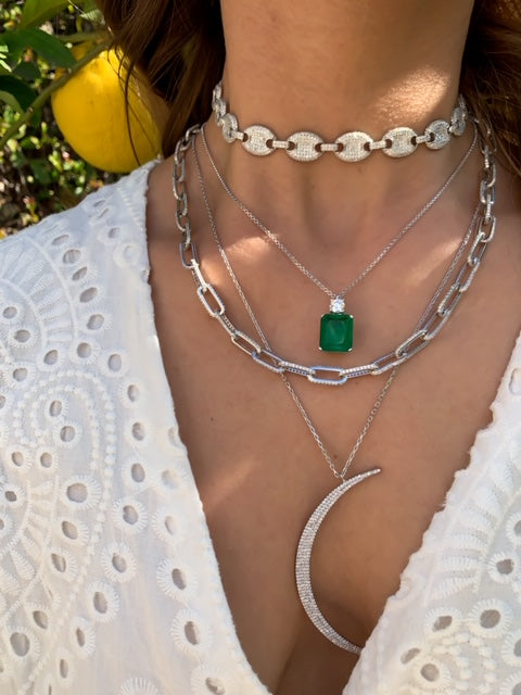 Sterling silver Emerald, Link & Moon chokers and necklaces