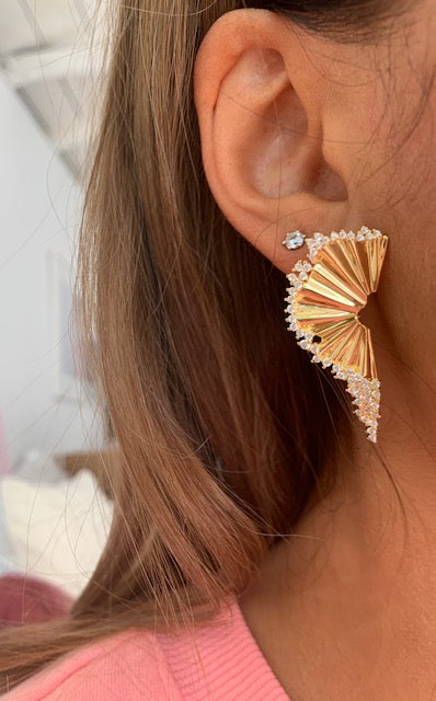 Sterling Silver gold plated fan shape sculpted earrings
