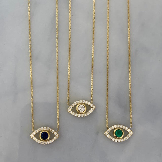 """Ojos"" Sterling silver gold plated dainty eye necklaces"