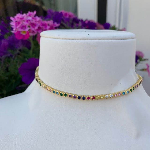Silver gold plated rainbow choker