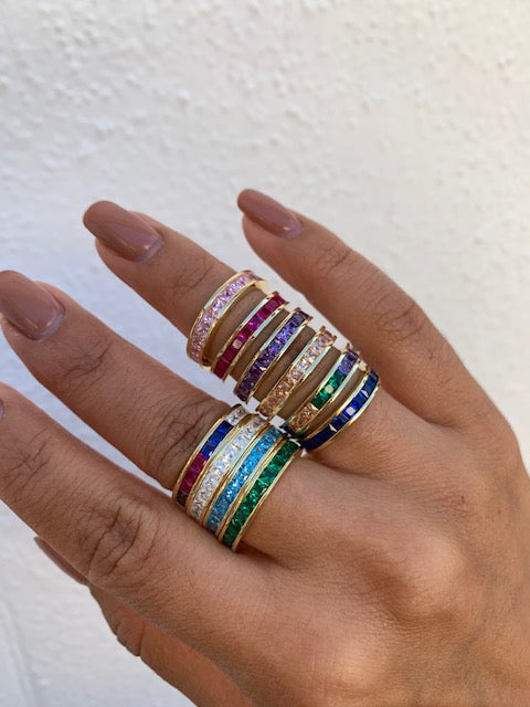 Sterling silver gold plated colorful channel set bands/rings