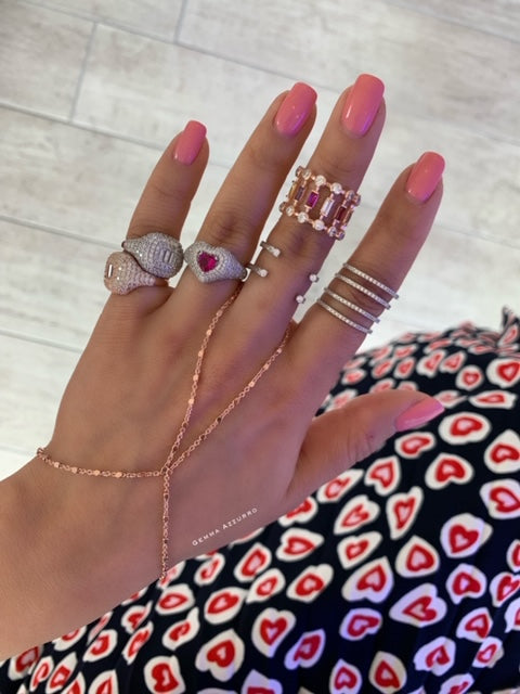 Sterling silver rose gold hand chain & heart + pinky rings