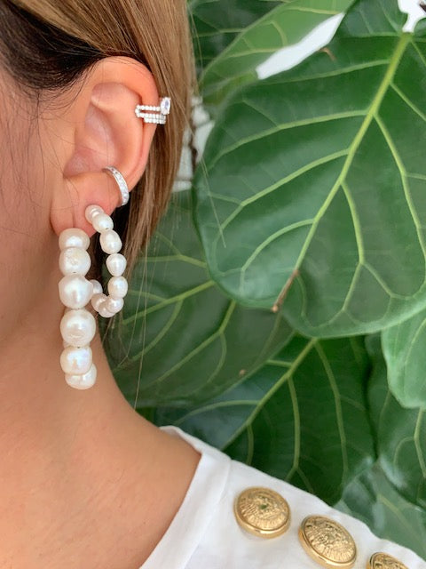 Sterling silver fresh water pearl hoop earrings