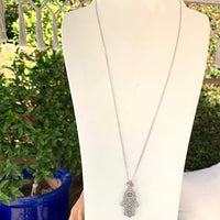 Sterling silver eye, emerald & long hamsa necklace