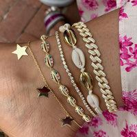 Sterling silver gold plated seashell, link, star anklets