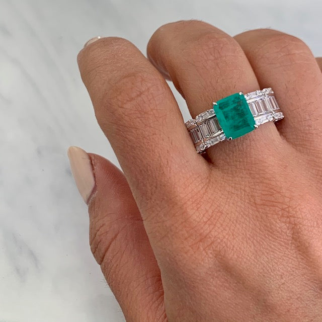 Sterling silver Paraiba ring with all around baguette stones