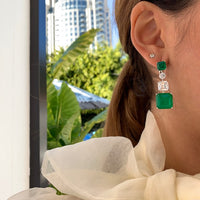 Sterling silver emerald green ascher cut statement earrings