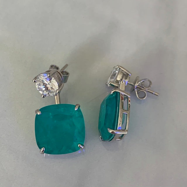 Sterling silver cushion cut paraiba statement earrings