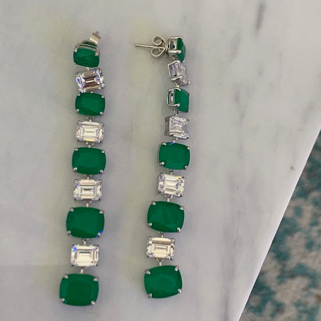Sterling silver emerald waterfall statement earrings
