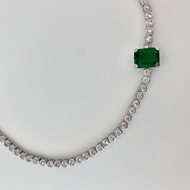 Sterling silver emerald green stone choker + star lariat necklaces