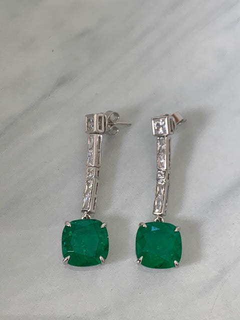 Sterling silver emerald long drop statement earrings