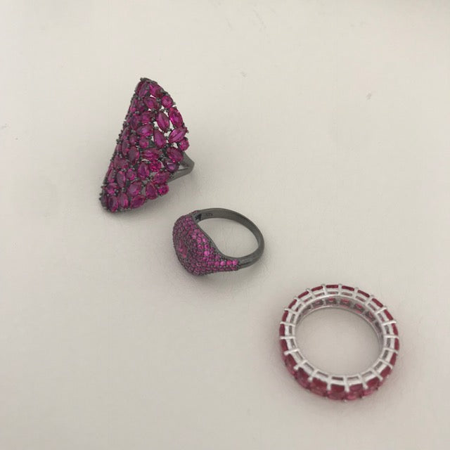 Sterling silver pink stone rings and band