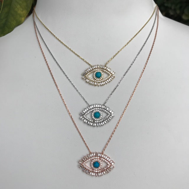 Sterling silver baguette stone eye necklace