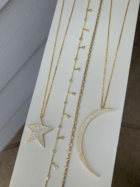 Sterling silver 18k gold plated Star & Moon and dainty necklaces