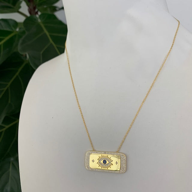 Sterling silver gold plated bar eye necklace