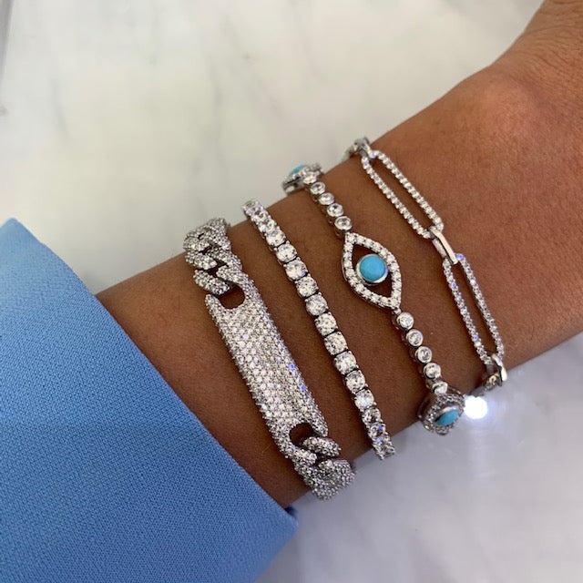 Sterling silver link ID, tennis and eye bracelets