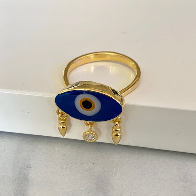 Sterling silver gold plated enamel eye ring