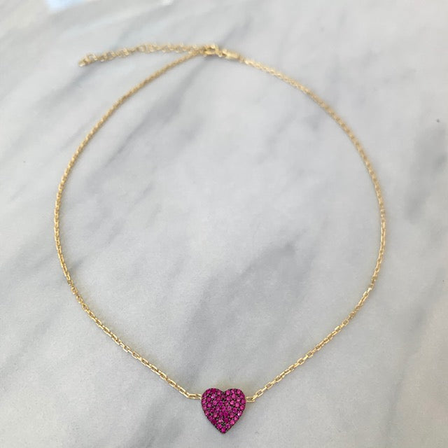 Sterling silver gold plated dainty heart chokers